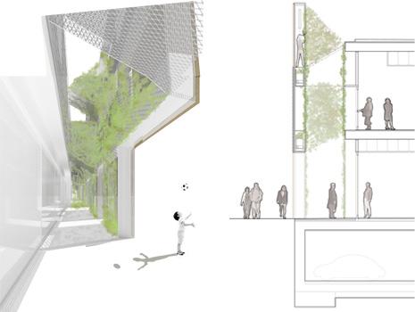 Vista interior y sección vertical
